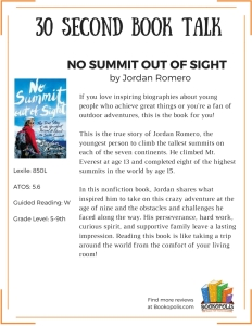 BOOK TALKS - No Summit Out of Sight
